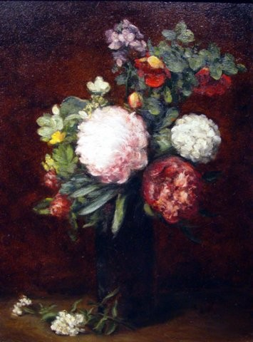 Flowers Large Bouquet With Three Peonies Fantin-Latour Fine Art Oil Painting Duplication