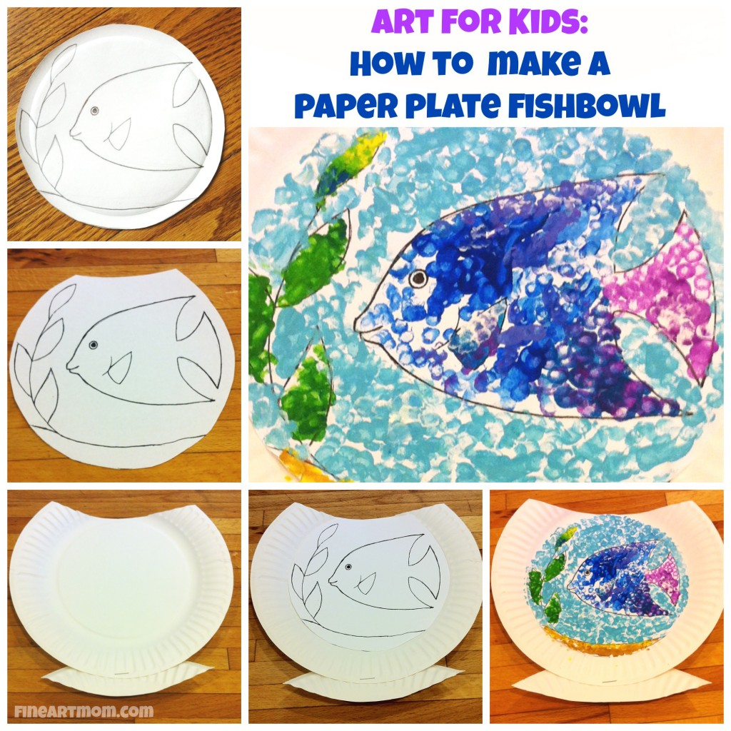 Paper plate fishbowl collage art for kids