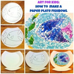 Paper plate fishbowl collage