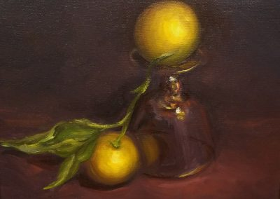 Lemons With Glass Fine Art Oil Painting