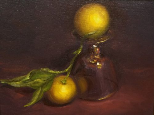 Lemons With Glass Fine Art Oil Painting
