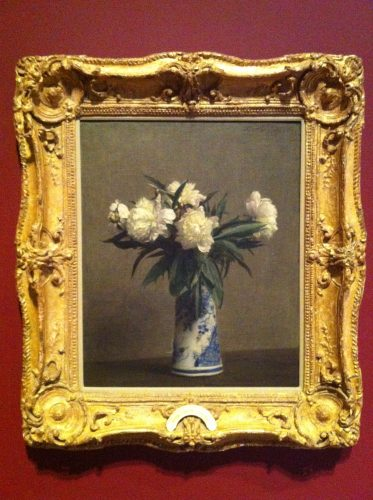 Fantin-Latour Peonies in a Blue and White Vase