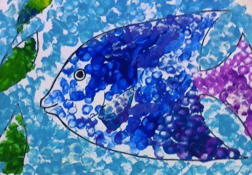 Maisie fish fine art mom paper plate fishbowl