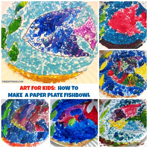Art for Kids Paper plate Fishbowl Collage