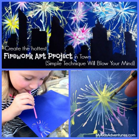 Straw Painting Fireworks Fine Art Mom My Kids Adventures