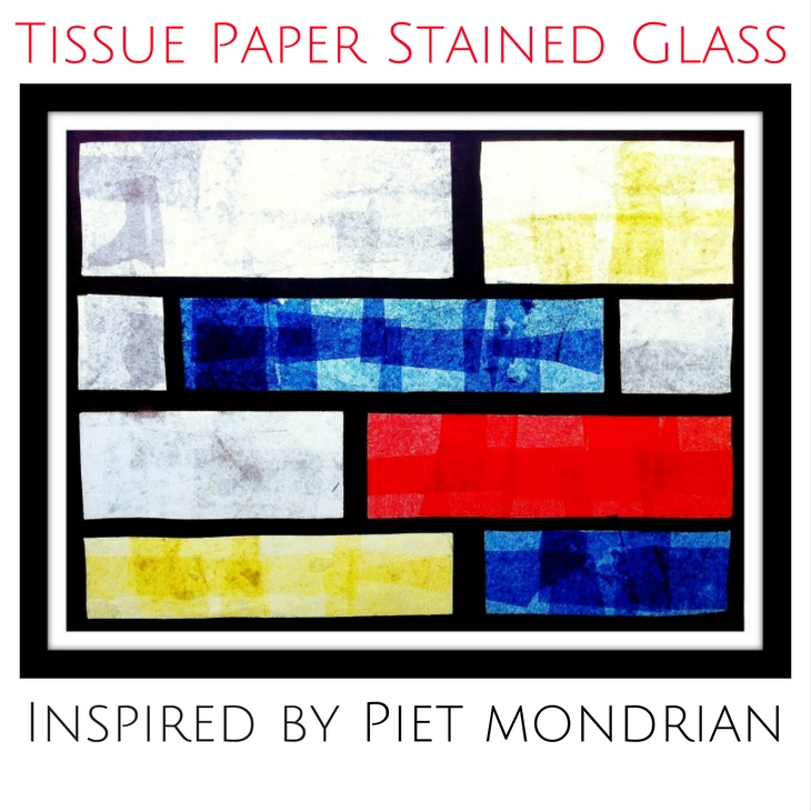 tissue paper stained glass mondrian art project fine art mom. Black Bedroom Furniture Sets. Home Design Ideas